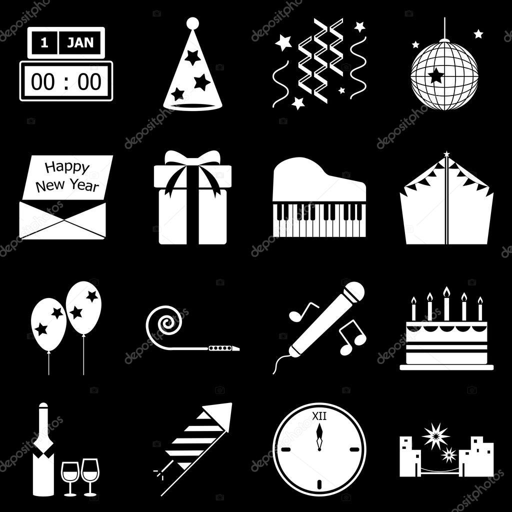 新的一年在黑色背景下,股票的矢量图标— 矢量图片作者 nalinrat