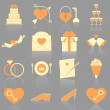Stock Vector: Wedding color icons with reflect