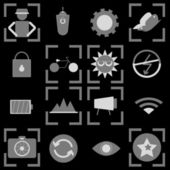 Photography icons on black background — ストックベクタ