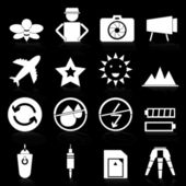 Camera icons with reflect on black background — Stockvector