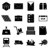 Iconos de envío sobre fondo blanco — Vector de stock