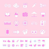 Entertainment color icons on pink background — Wektor stockowy