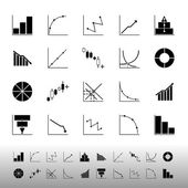 Set of diagram and graph icons on white background — Stock Vector