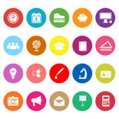 School flat icons on white background — Stock Vector