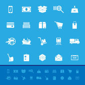 Shipment color icons on blue background — Stock Vector