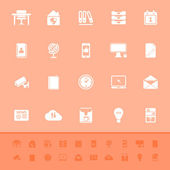 Home office color icons on orange background — 图库矢量图片