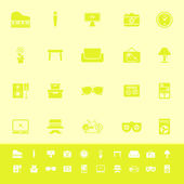 Living room color icons on yellow background — Stock Vector