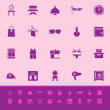 Dressing room color icons on pink background — Stok Vektör
