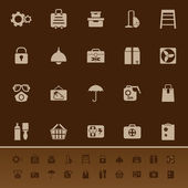 Home storage color icons on brown background — Stock Vector