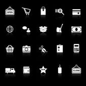 Shopping icons with reflect on black background — Stock Vector