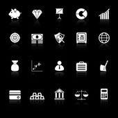 Finance icons with reflect on black background — Stock Vector
