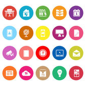 Home office flat icons on white background — Stock Vector