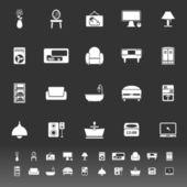 ícones de mobília home em fundo cinza — Vetorial Stock
