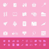 Hobby color icons on pink background — Stock Vector