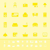 Home furniture color icons on yellow background — Vector de stock