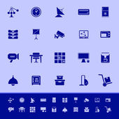 General office color icons on blue background — Cтоковый вектор