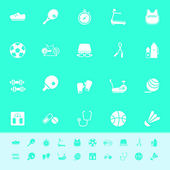 Fitness sport color icons on green background — Cтоковый вектор