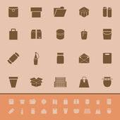 Package color icons on brown background — Cтоковый вектор