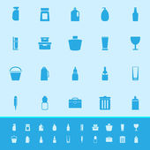 Design package color icons on blue background — Stock Vector