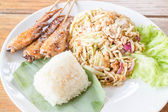 Set of green mango salad, chicken grill and sticky rice   — Stock Photo