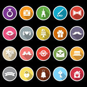 Wedding icons with long shadow — Stock Vector