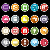 Electrical machine icons with long shadow — Stock Vector
