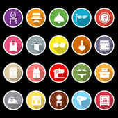 Dressing room icons with long shadow — Stock Vector