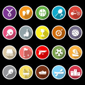 Sport game athletic icons with long shadow — Stock Vector