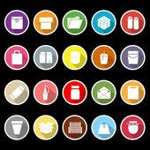 Pakket icons met lange schaduw — Stockvector
