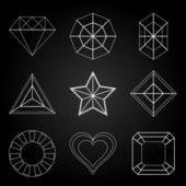 General gem shape icons on dark background — Stock Vector