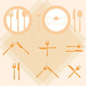 Plate orange color icons with fork and knife sign — Stock Vector