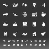 Supply chain and logistic icons on gray background — Stockvektor