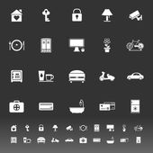 General home stay icons on gray background — Stock Vector