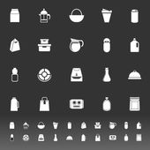 Variety food package icons on gray background — Stock Vector