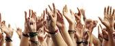 Händerna på publiken — Stockfoto