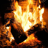 Fire in a fireplace — Foto de Stock
