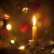 Candle on christmas tree — 图库照片