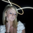 Girl with lightpainting — Foto de Stock