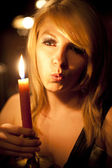 Candle girl — Stock Photo