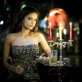Girl in dark room — Stock Photo