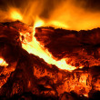 Fire burning close up - Stock Photo