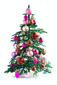 Christmas Tree Decorated with Toys Isolated on White Background — Stock Photo