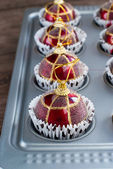 Funny Red Christmas Balls in Baking Sheet — Stock Photo