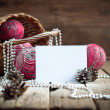 Christmas Card with Composition from Pink Natural Balls — Stock Photo