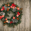 Royalty-Free Stock Photo: Christmas Wreath on Wooden Background