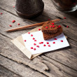 Card with Letter and Chocolate Cookies in the Shape of Heart at — Stock Photo