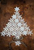 Christmas Card with White Snowflakes — Stock Photo