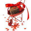 Red Cart with Cookies Red Ribbon and Little Hearts Isolated on W — Stok Fotoğraf #17404099