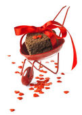 Red Cart with Cookies Red Ribbon and Little Hearts Isolated on W — Stock Photo