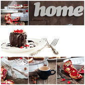 Collage with Chocolate Cake Decorated with Pomegranate — Stockfoto
